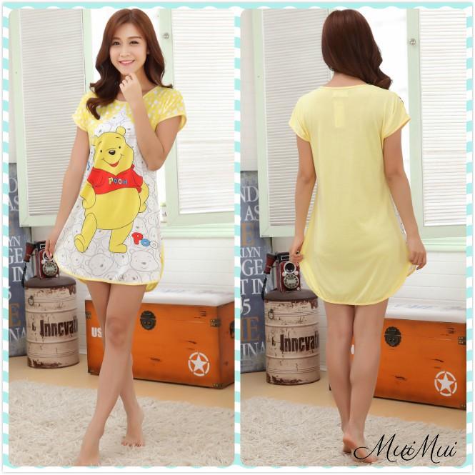 Muimui Promotion Baju Tidur Polyester Pajamas Cartoon Pooh Nightdress M021   0f27f09fb4