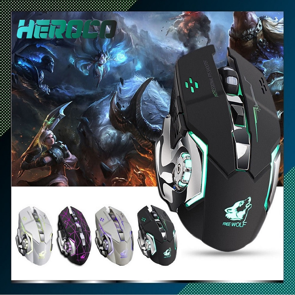 Star Black X8 Super Quiet Wireless Gaming Mouse LED Backlit USB Rechargeable Optical New