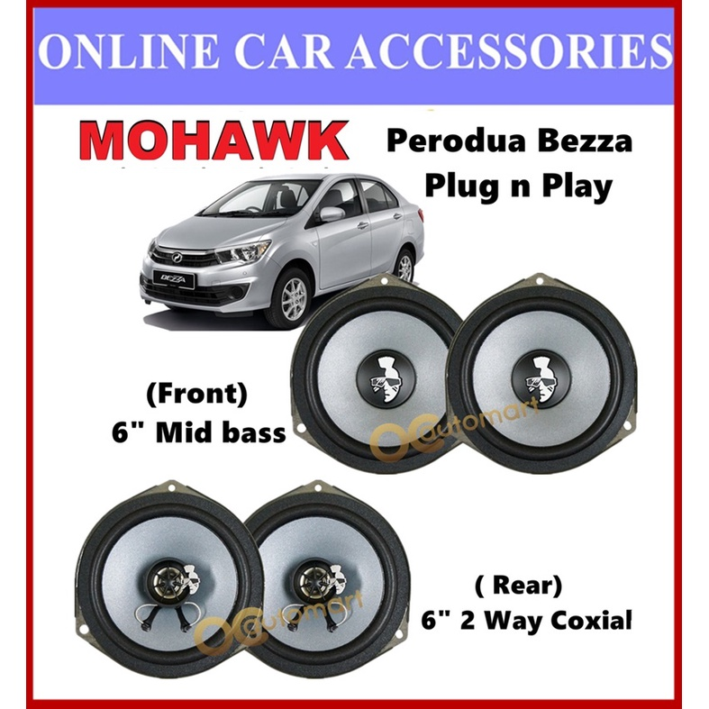 MOHAWK Plug & Play Front & Rear OEM Speaker For PROTON,PERODUA,TOYOTA,HONDA,NISSAN-(Perodua Bezza)
