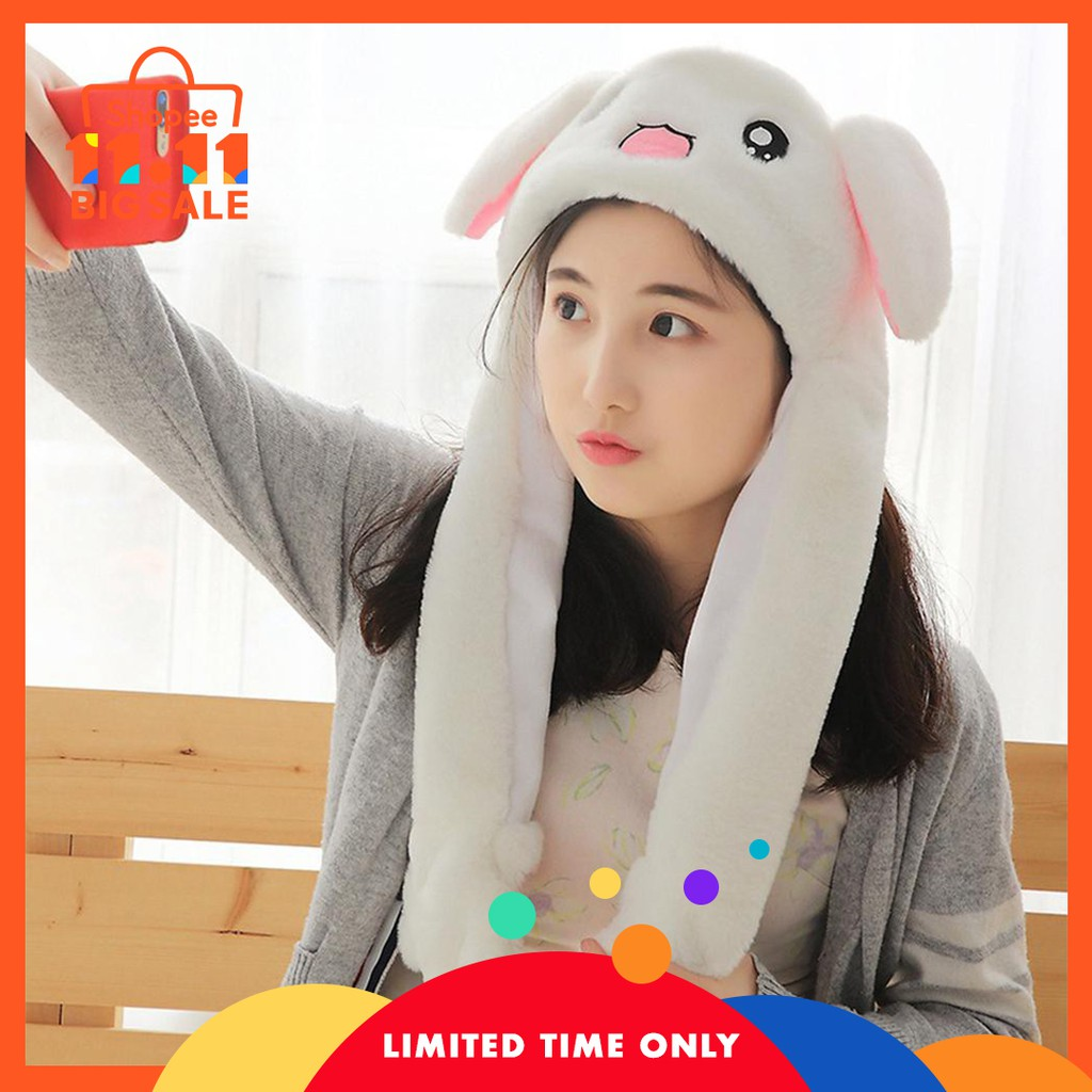 2019 Hot Sell Fashion Moving Hat Rabbit Ears Plush Sweet Cute Airbag Cap 2 Color Can Be Choose Fashionable And Attractive Packages Apparel Accessories Girl's Accessories