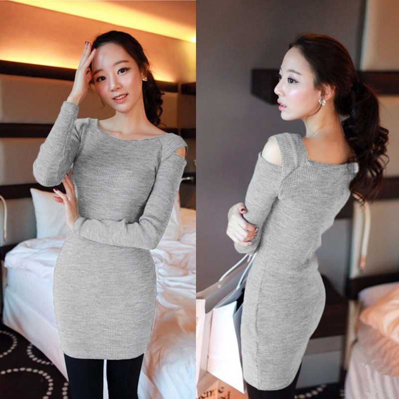 Korean Fashion Women Dress Open Shoulder Square Neck Long Sleeve Sexy Slim Party Mini Dress (Gray)