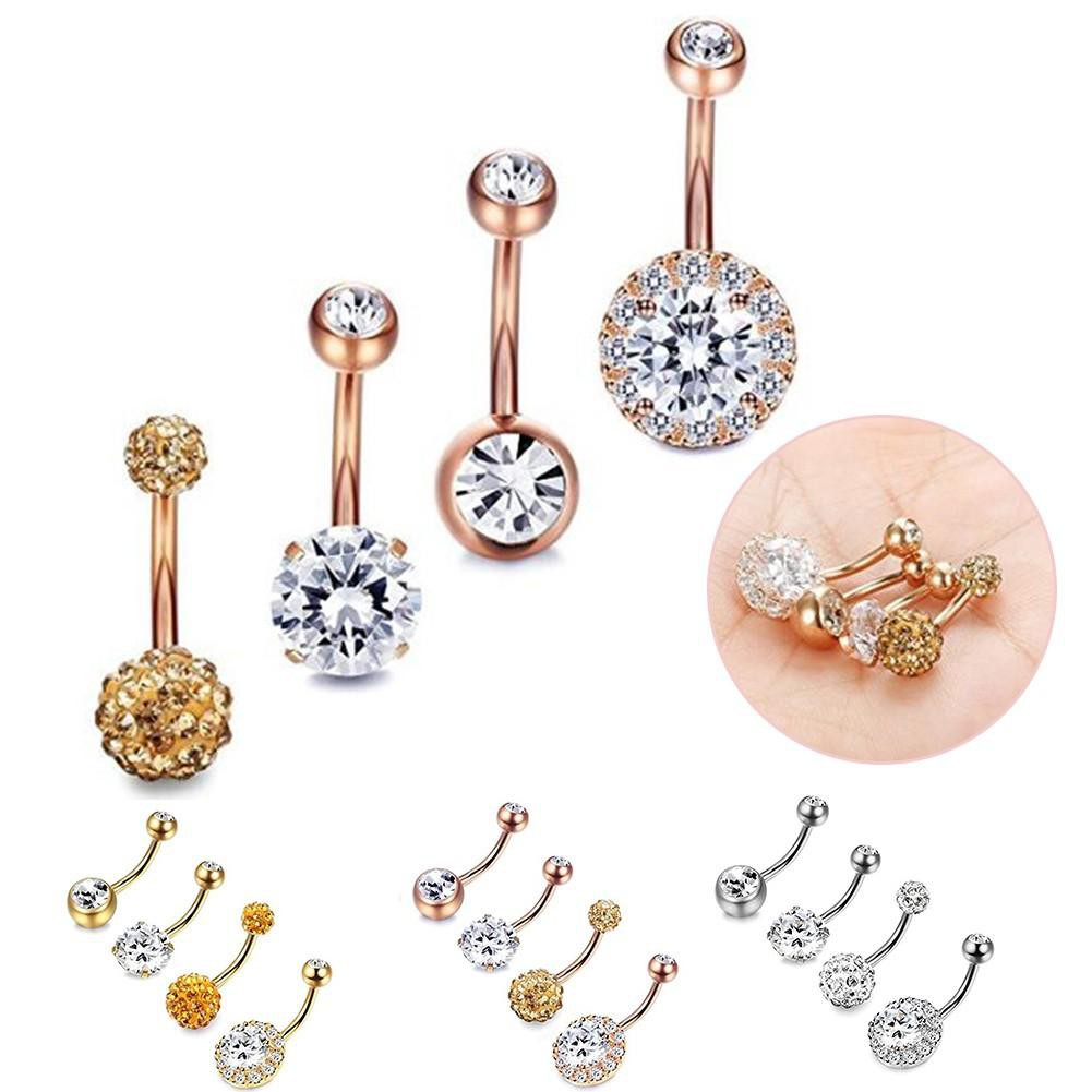 4pcs Stainless Steel Diamond Nail Belly Button Rings Body Jewelry Belly Piercing