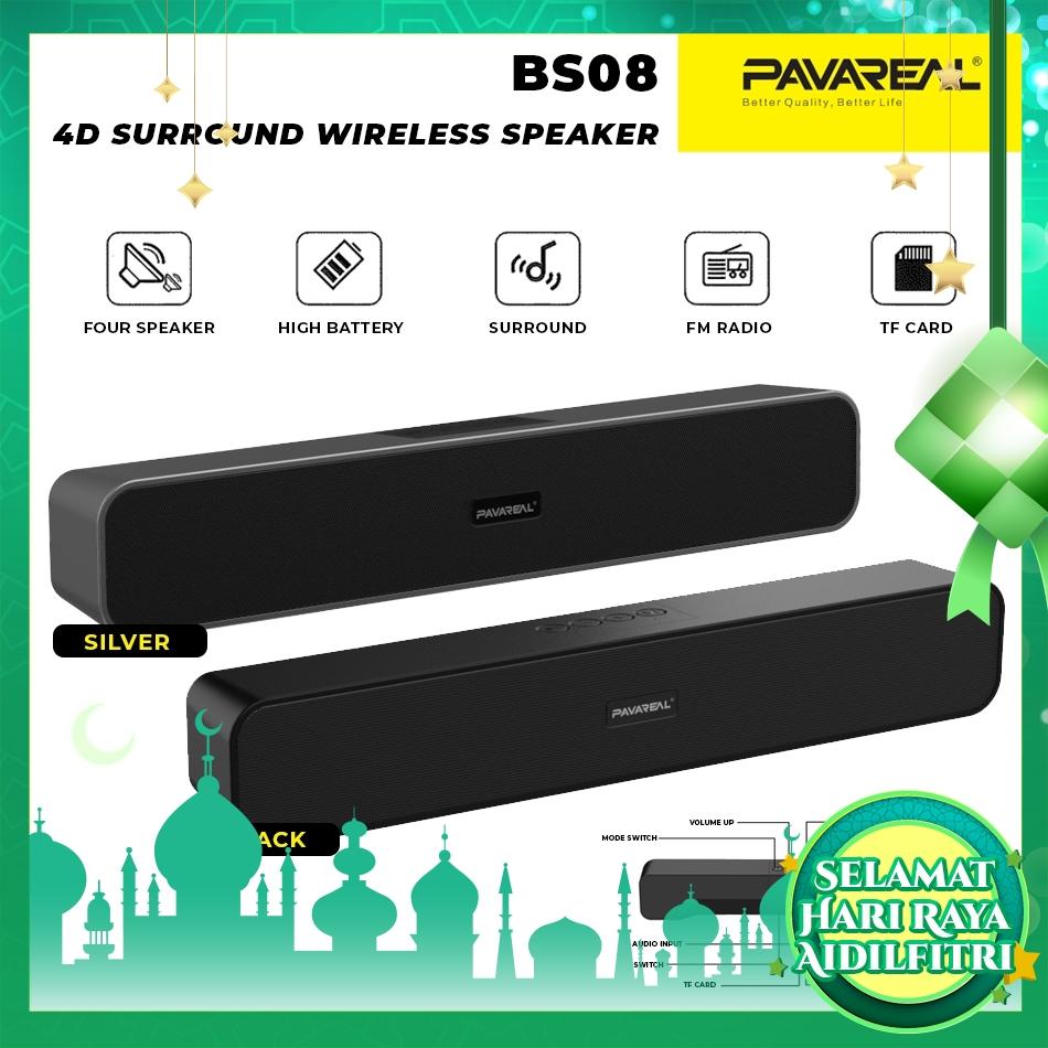 PAVAREAL PA-BS08 V5.0 Wireless Bluetooth Speaker 4D Surround Hifi Stereo Deep Bass FM Radio Built-in HD Mic TF Card