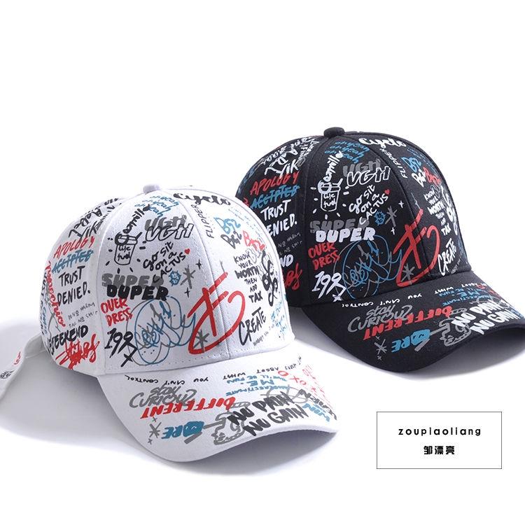 4866404b0 ◙✎□Korean cartoon graffiti Boomers cap personality street trend men's and  women's baseball caps student net INS
