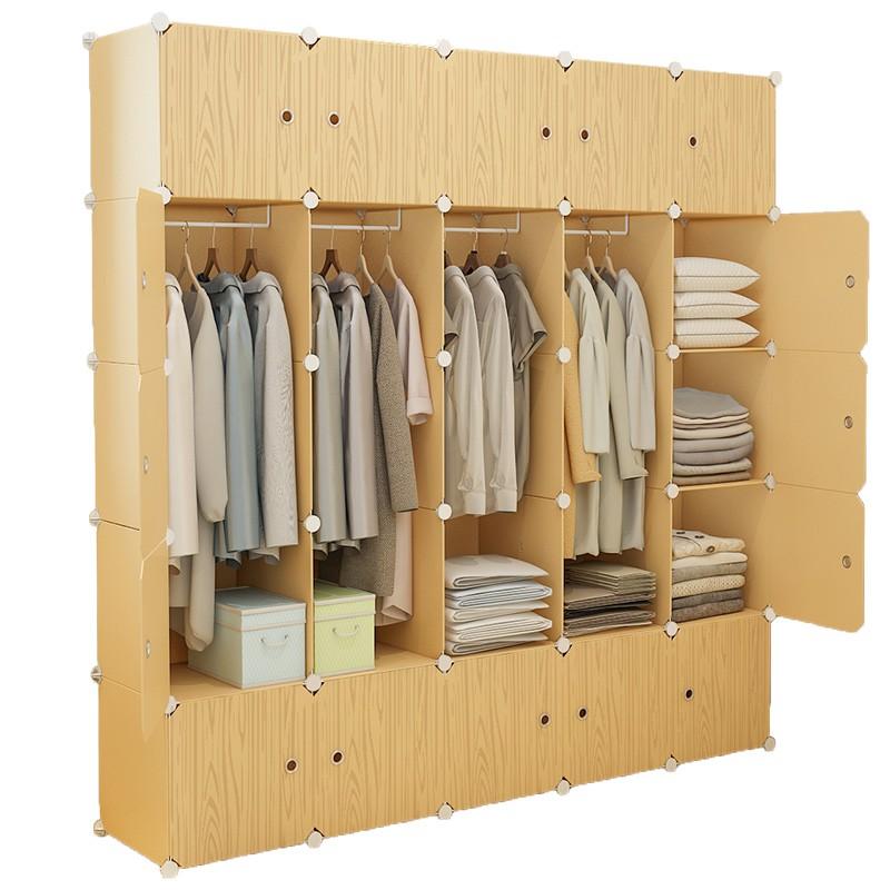 Closet Storage Series Fabrik Almari Pakaian Sederhana Perabot Moden Minimalis Rumah Tangga Tiruan Kayu Gantung Penyew Shopee Malaysia