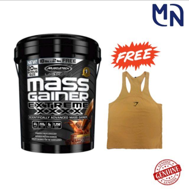 RAYA SALE! Muscletech Mass Gainer Extreme XXXX (FREE SINGLET) 9kg WEIGHT GAIN SIZING BULKING