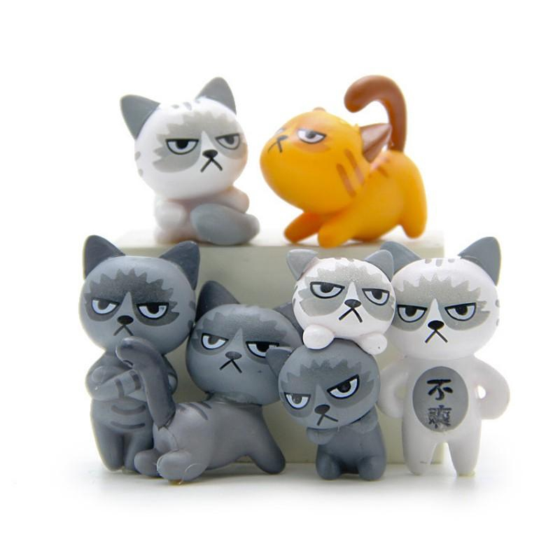 f256e4d27b74 6 Pcs/set Funny Unhappy Cats Dolls Children Doll Toys Baby Room Decoration