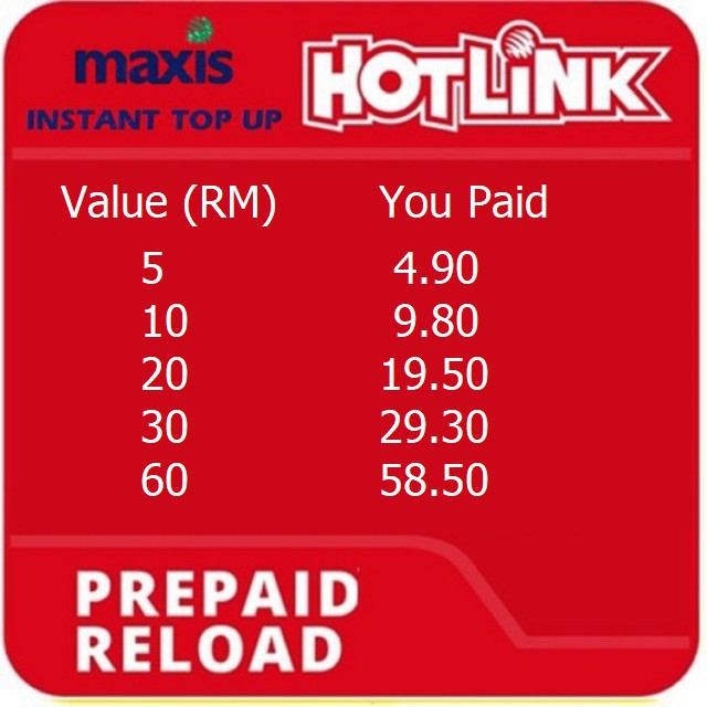 Hotlink Maxis Mobile Prepaid Instant / Direct Reload / Top Up