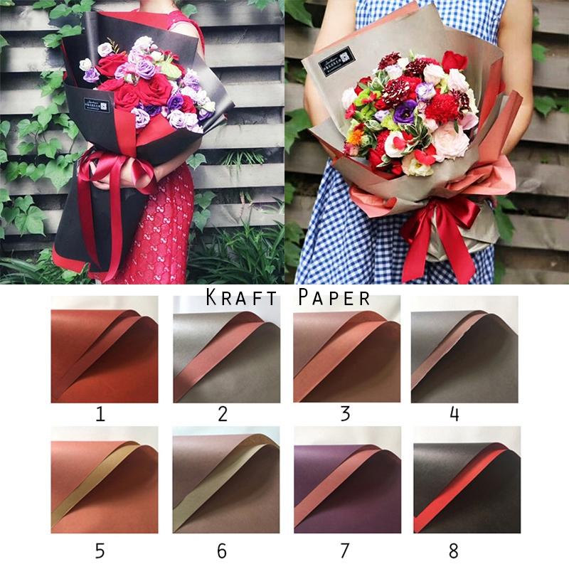 20 Sheets Double Color Kraft Paper Flowers Wrapping Paper Gift Packaging 59 54cm