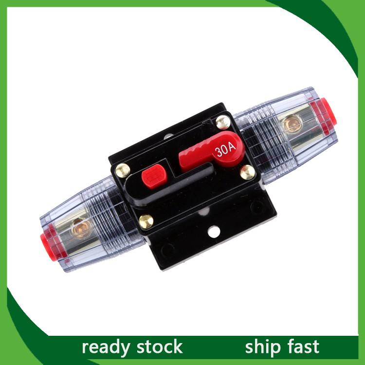12V-24V Inline Auto Circuit Breaker 30A Manual Reset Switch Car Audio Fuse
