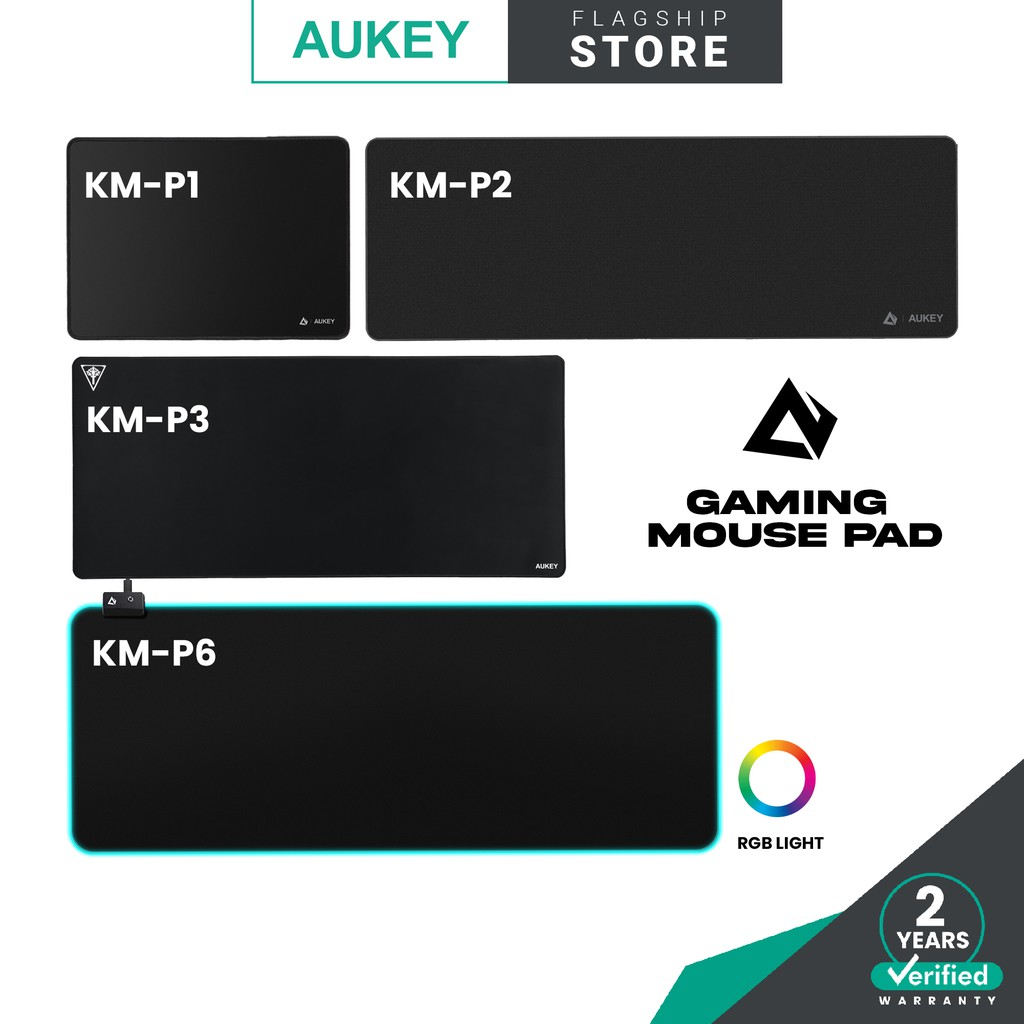 Aukey Gaming Mouse Pad with Smooth Surface, Non-Slip Rubber Base, and Anti-Fraying Stitched Edges