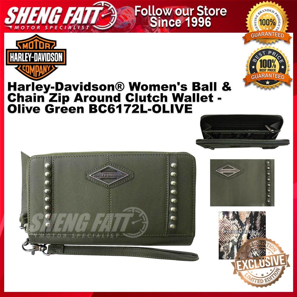 Harley-Davidson® Women's Ball & Chain Zip Around Clutch Wallet - Olive Green BC6172L-OLIVE