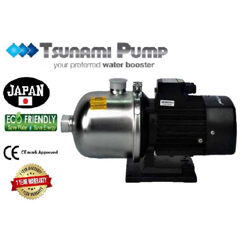 Tsunami CMF2-60T-THREE PHASE Food Grade Stainless Steel Casing Home Auto Booster Pressure Water Pump【1 Year Warranty】