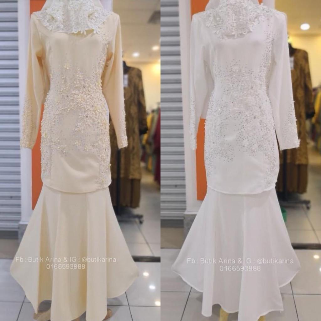 Kurung Moden Lace Bunga 10D putih offwhite / cream set nikah sanding kahwin