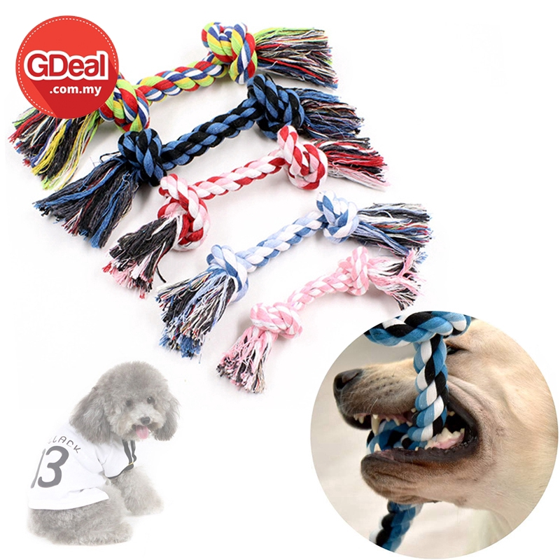 GDeal 30CM Pet Double Knot Section Clean Tooth Braided Shape Cotton Rope Puppy Chew Toy (Random Colour)