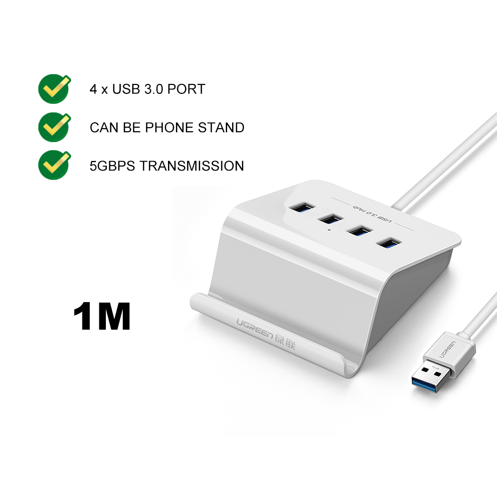 UGREEN USB A 3.0 to 4 Port USB 3.0 HUB DC 3.5mm Cable Phone Holder 5Gbps Data Transfer Splitter Power Supply Adapter