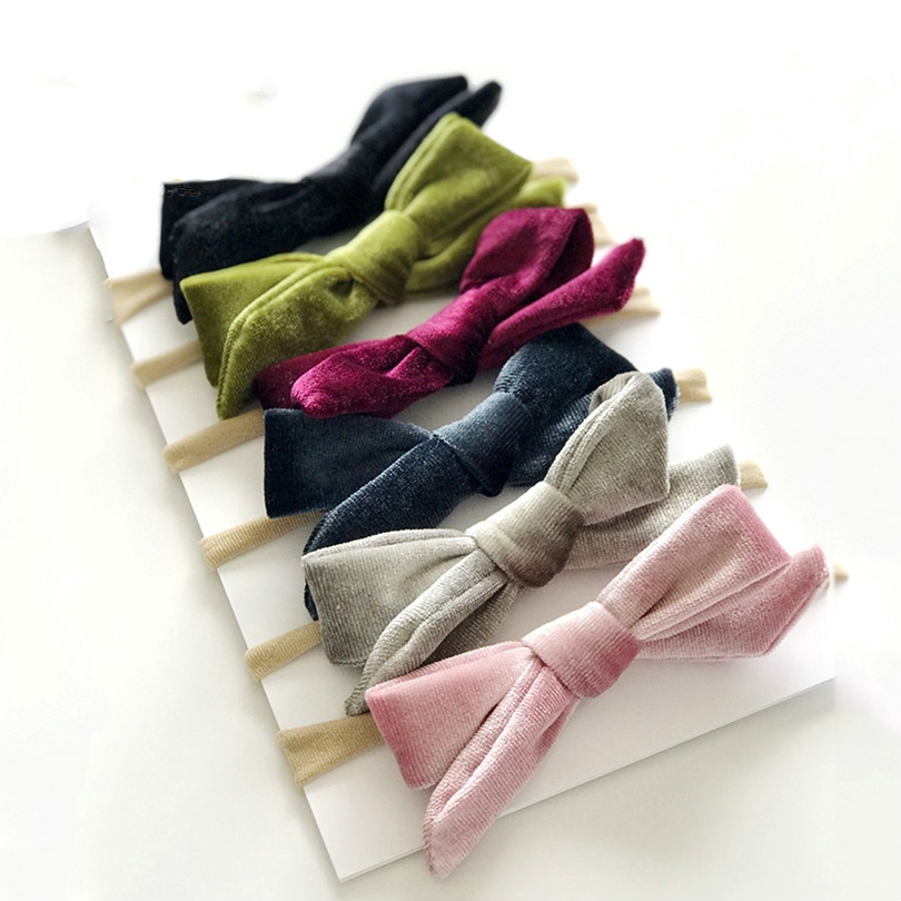 Nylon Hair Accessories Elastic Hairband Hair Rope Velvet Headbands Cute Bows