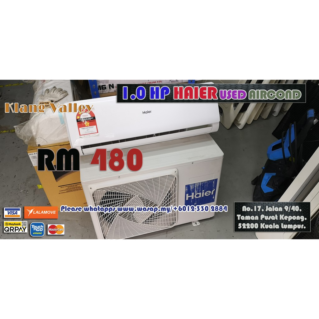 1.0HP Wall Type Haier Used Aircond / Second-hand / Klang Valley