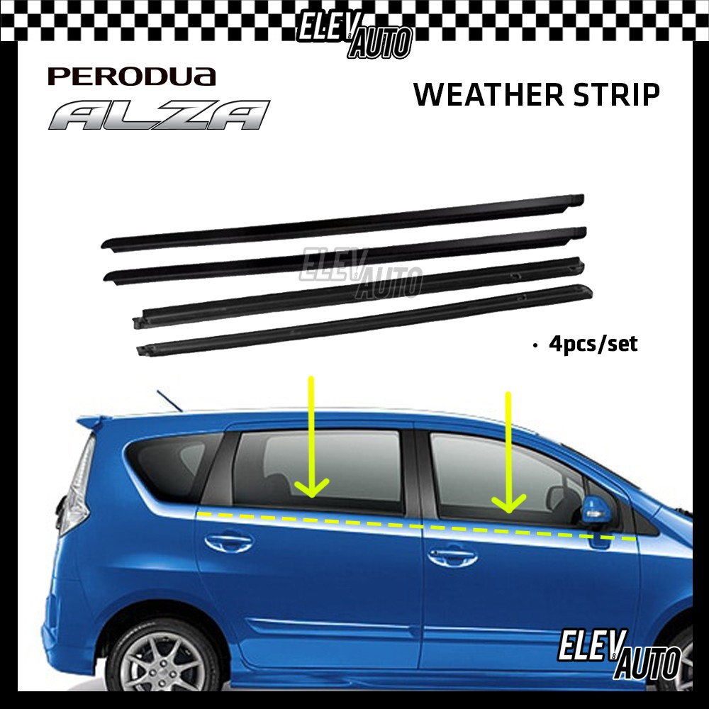 Perodua Alza Weather Strip Weatherstrip Window Moulding Belt 4pcs (Black)