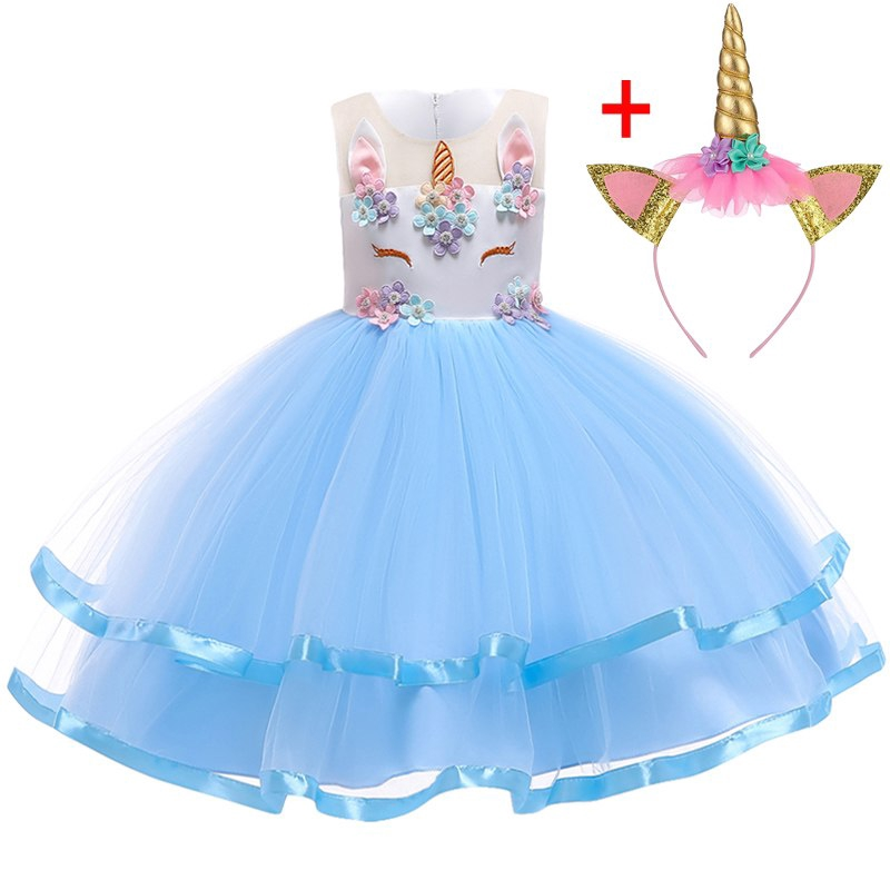 7652f9ecf8047 ProductImage. Girls Unicorn Headwear Cosplay Dress Toddler Kids Costume  Princess Clothes ...