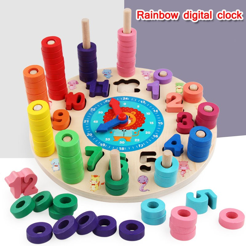 Children's educational aid digital learning digital clock early education toys