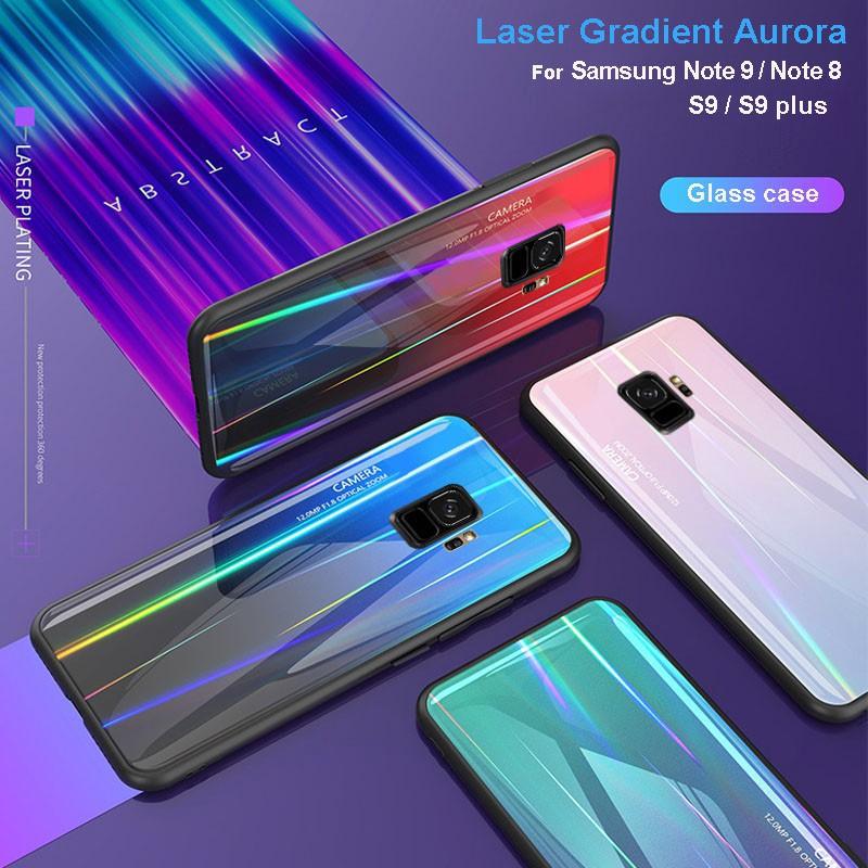 watch fe5bb fdfcf Samsung Galaxy S10 Plus Note 9 Note 8 S9 S9plus Glass Laser Gradient Aurora  Case