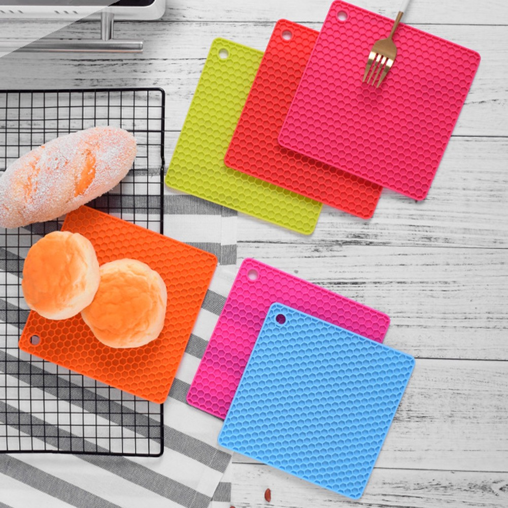 Square Silicone Honeycomb Pot Holder Anti-Slip Pad Coaster Bowl Pan Place Mat R25