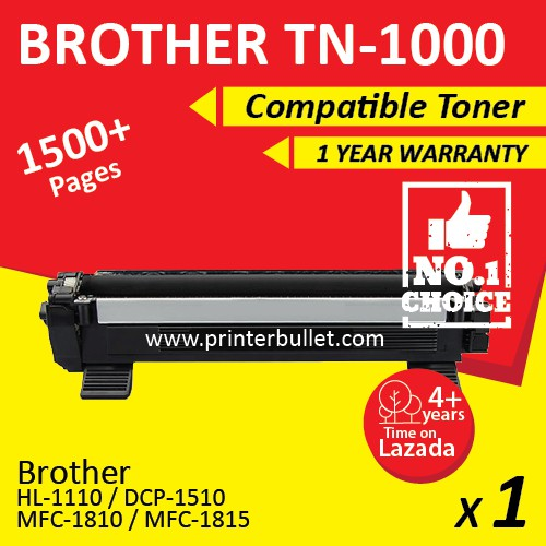Brother TN1000 / TN-1000 High Quality Compatible Toner Cartridge FOR HL1110