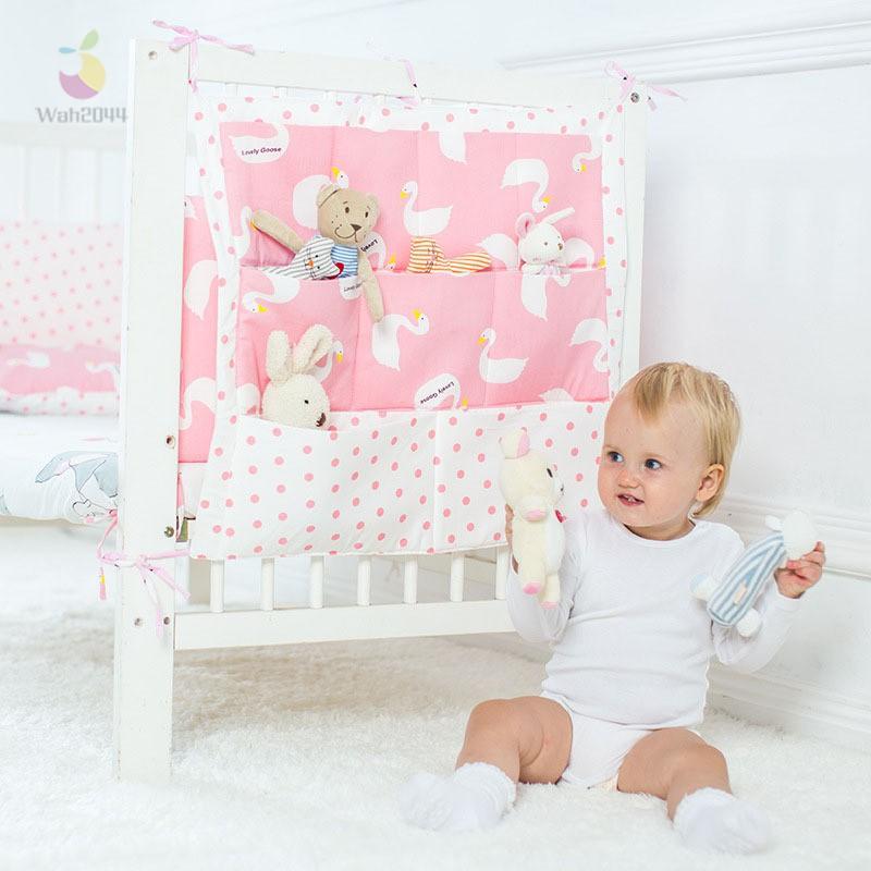 Baby Bed Hanging Storage Bag Cotton Crib Organizer Toy Diaper Pocket For Crib
