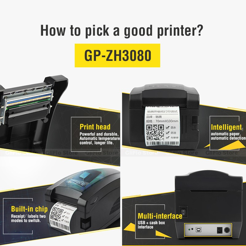 Gprinter 2 in 1 Label/Receipt bluetooth Printer ZH3080 Support print 57/80mm