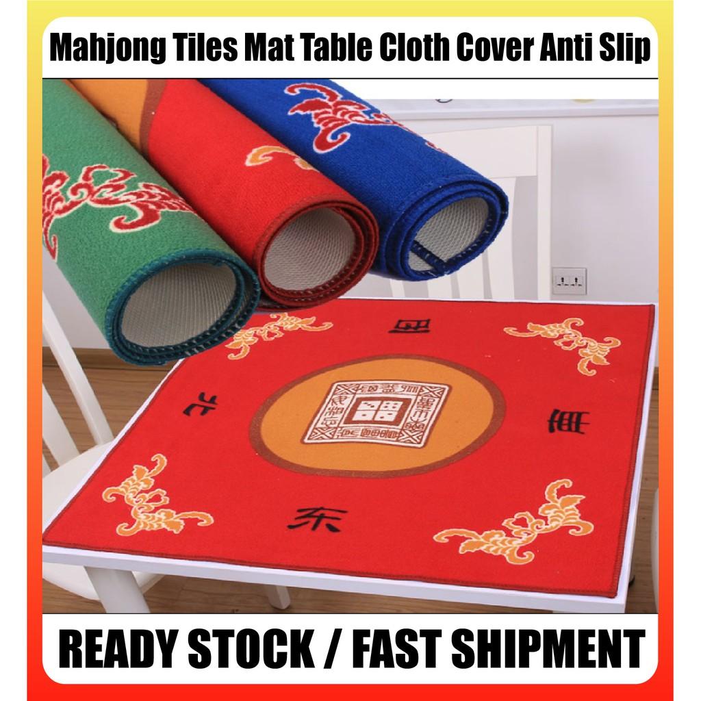 [Ready Stock] Red/Green/Blue Mahjong Tiles Mat Table Cloth Cover Anti Slip 80cm*80cm 抗噪音麻将桌布垫