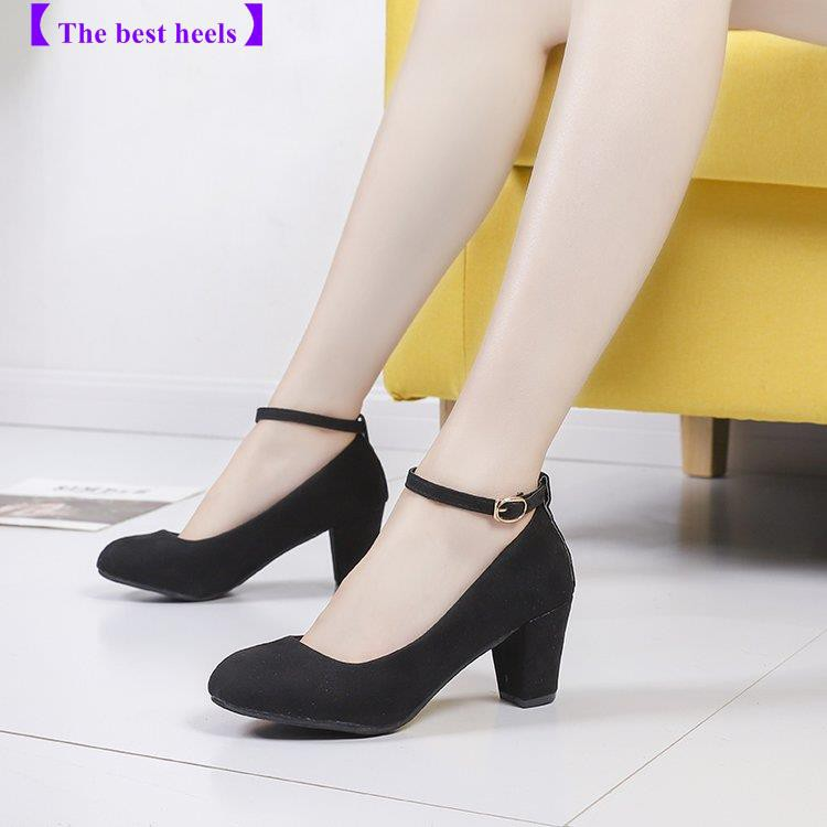 where to buy buy popular outlet The best heels】high heels women with 5cm word buckle with thick ...