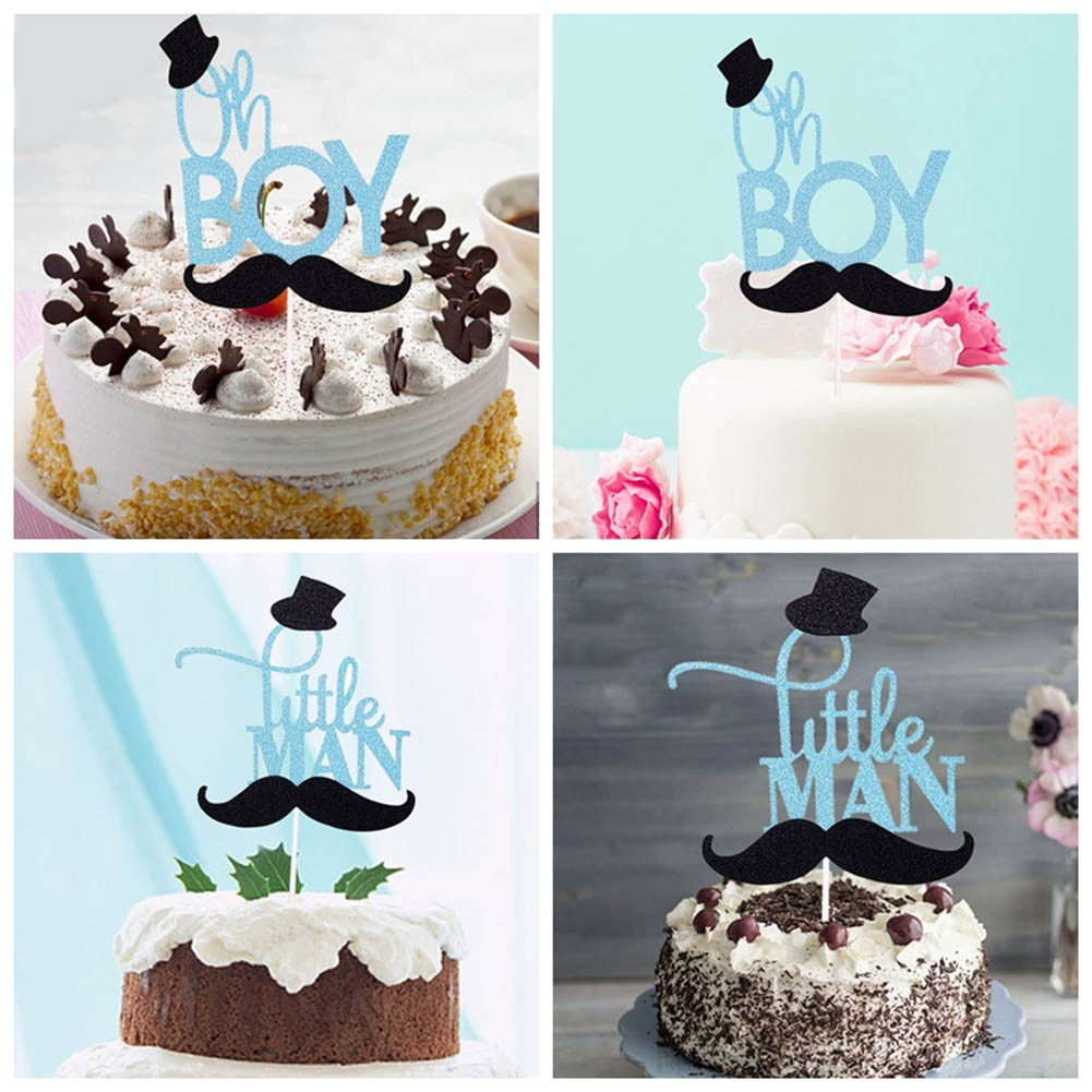Terrific Little Man Cake Toppers Happy Birthday Gentleman Hat Mustche Baby Funny Birthday Cards Online Elaedamsfinfo
