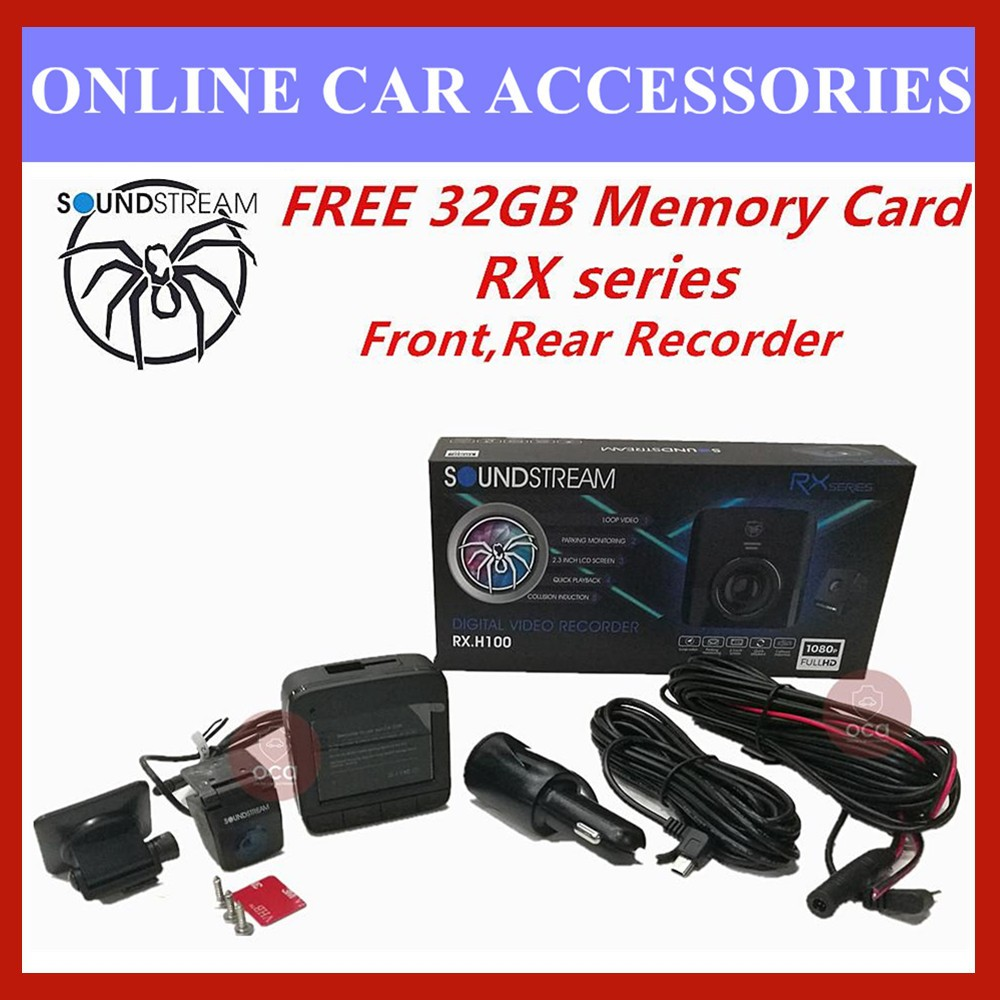 """Soundstream DVR 2.3"""" LCD Display 1080P HD Car Front and Rear Driving Recorder Camera DVR RX.H100 (FREE 32GB Memory Card)"""