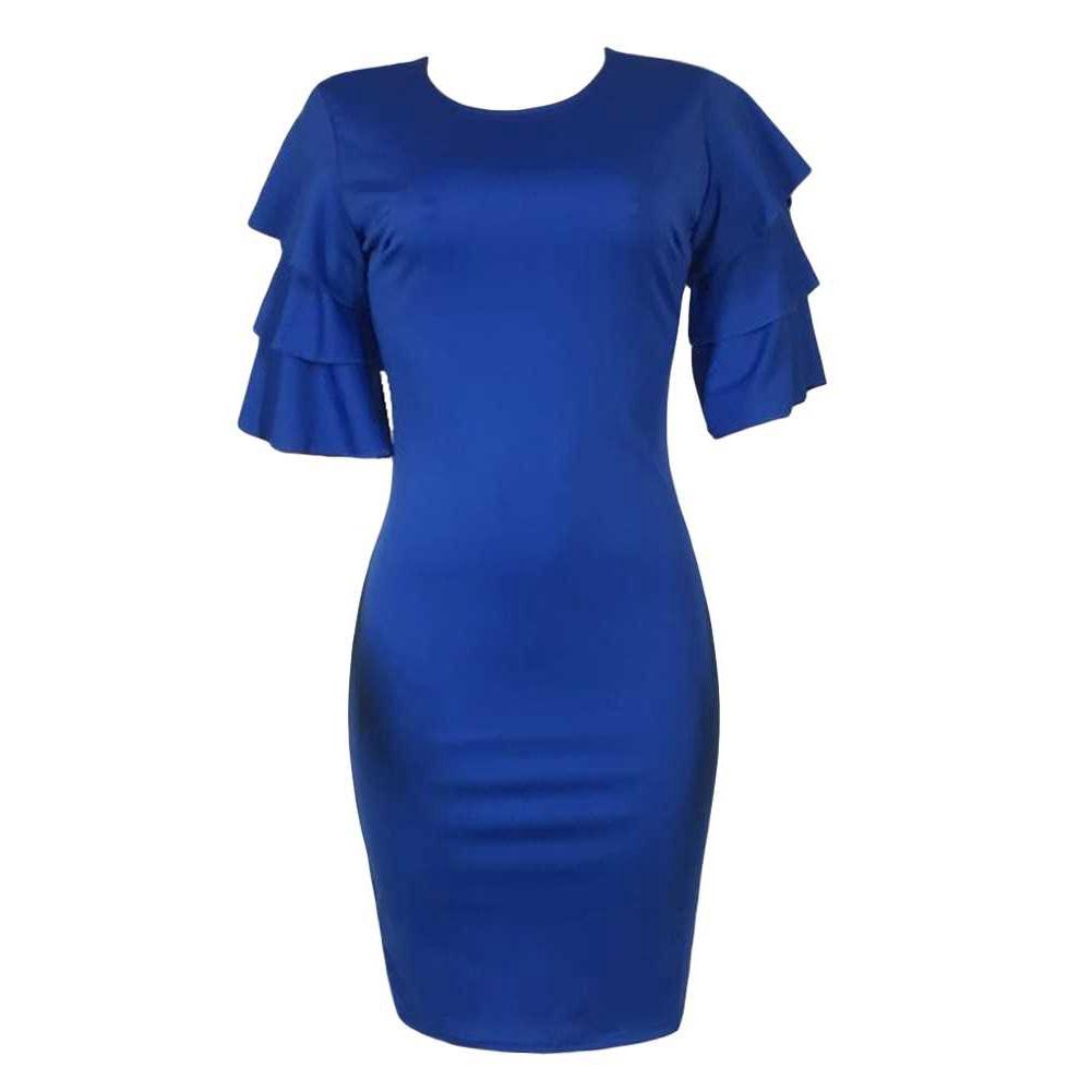 Sexy Women Pencil Dress Ruffle O-Neck Layered Sleeve Nightclub Party Bodycon Slim Midi Dress (Red Blue)