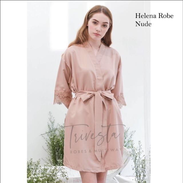 Helena Robe In Nude Kimono Bride Bridesmaid Satin Brokat Free Embroidery Shopee Malaysia