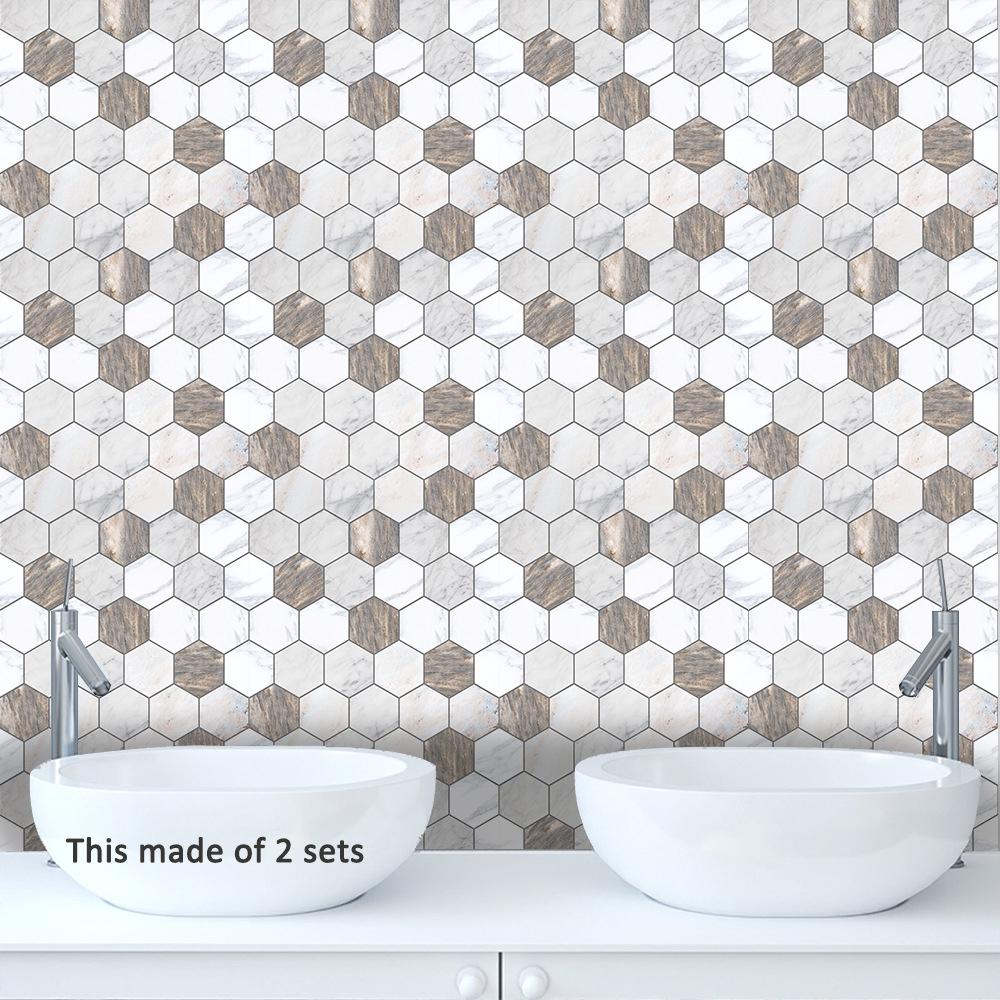 - 3D Hexagon Tile Stickers Nordic Bedroom Decal Mural Kitchen Wall