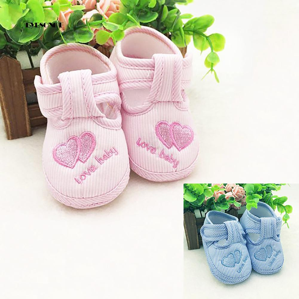 get cheap run shoes elegant shoes Cute Toddler Infant Love Heart Striped Soft Sole Newborn Baby ...