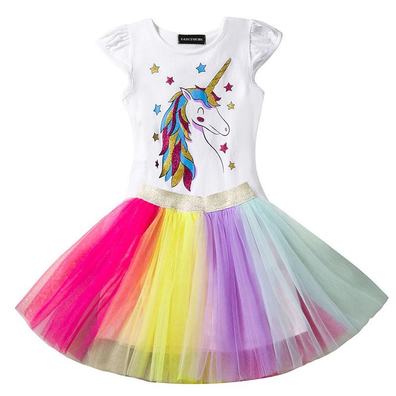 Kids Girls Sleeveless Ruffles Unicorn Animal Party Princess Tutu Swing Sundress