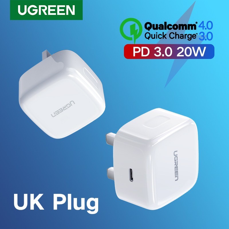 ReadyStock UGREEN Power Delivery 20W PD 3.0 Quick Fast Charger