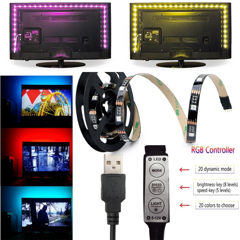 dfa0e8cb974 Waterproof USB LED Strip Light RGB 5050 2M 17keys remote controller ...