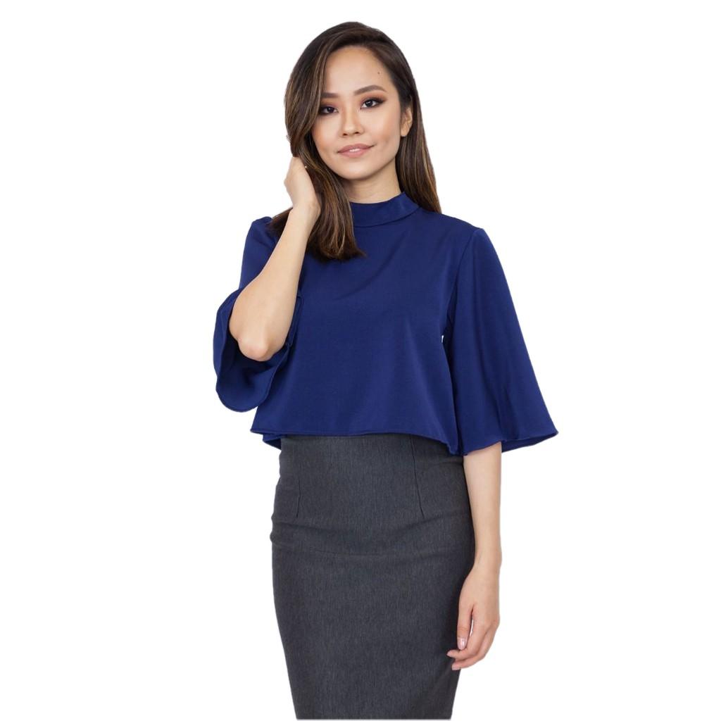 0590f63e3710e6 Nichii Puff Sleeve Top - Navy Blue | Shopee Malaysia