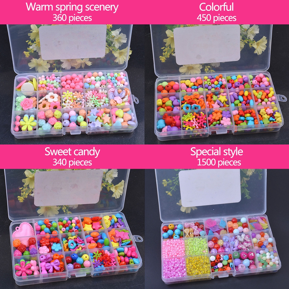 Children Beaded Handmade Toy Beads Set for Jewelry Making Kids Adults Craft DIY Necklace Bracelets Letter Alphabet Colorful Acrylic Crafting Beads Kit Box with Accessories Gifts 1000PCS