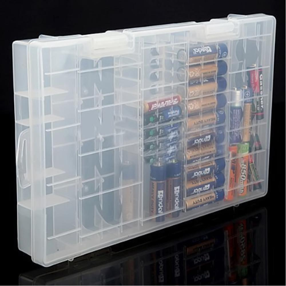 size 40 b535e af224 Multi-functional Transparent AAA AA C D 9V Battery Holder Case Storage Box  K693