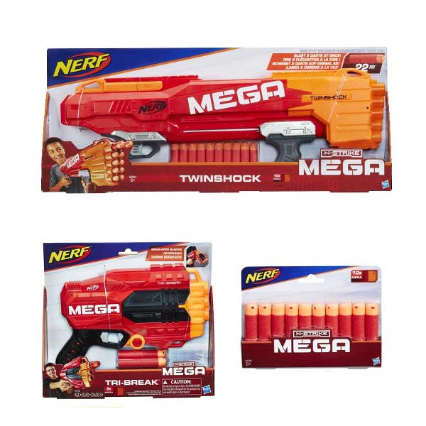 NERF - MEGA TWINSHOCK + TRi-BREAK BUNDLE SET ชุดปืนยิงกระสุนโฟม NERF MEGA แพ็คคู่ NFB9894+NFE0103+NFA4368