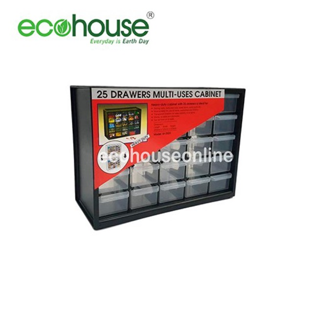 Ecohouse 25 Compartment Heavy Duty Drawers/Plastic Storage Multi Uses Organizing Cabinet [ READY STOCK ]