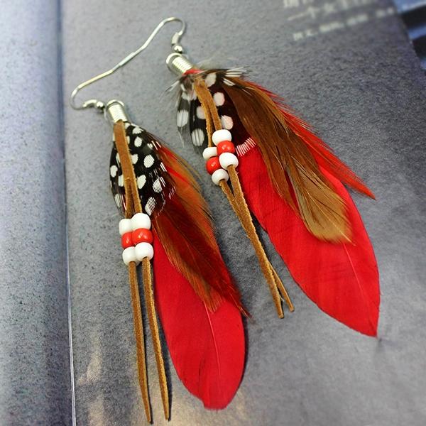 644d04a1ef1a3 Women's Jewelry Handmade Earrings Bohemia Tassel Feather Dangle Hook Eardrop
