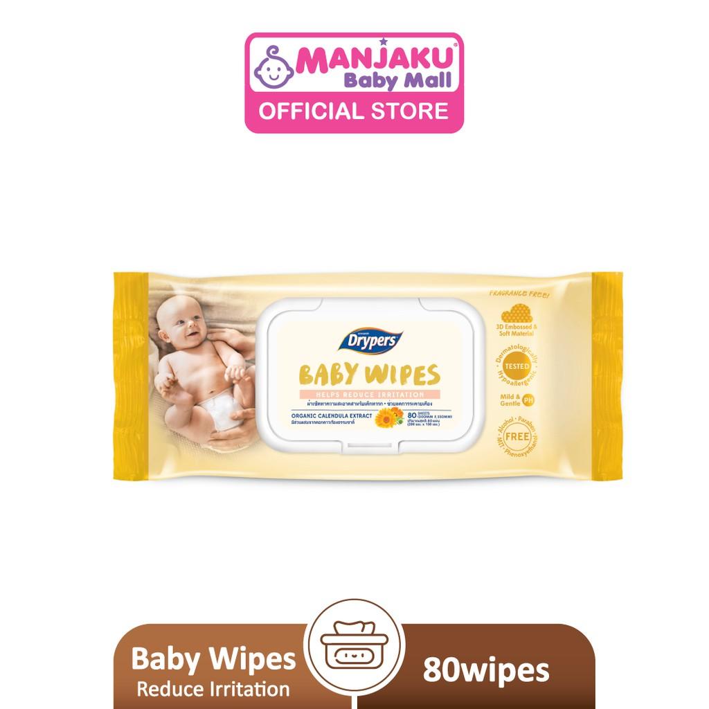 Drypers Baby Wipes - Helps Reduce Irritation (80's)