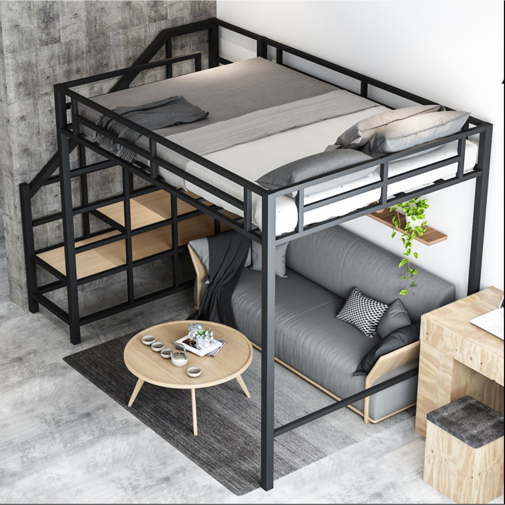 Ed Vis Loft Bed Upper Bunk Bed Frame Wood Stair Metal Frame Space Saving Pwp Promo Free Shipping To Wm Shopee Malaysia