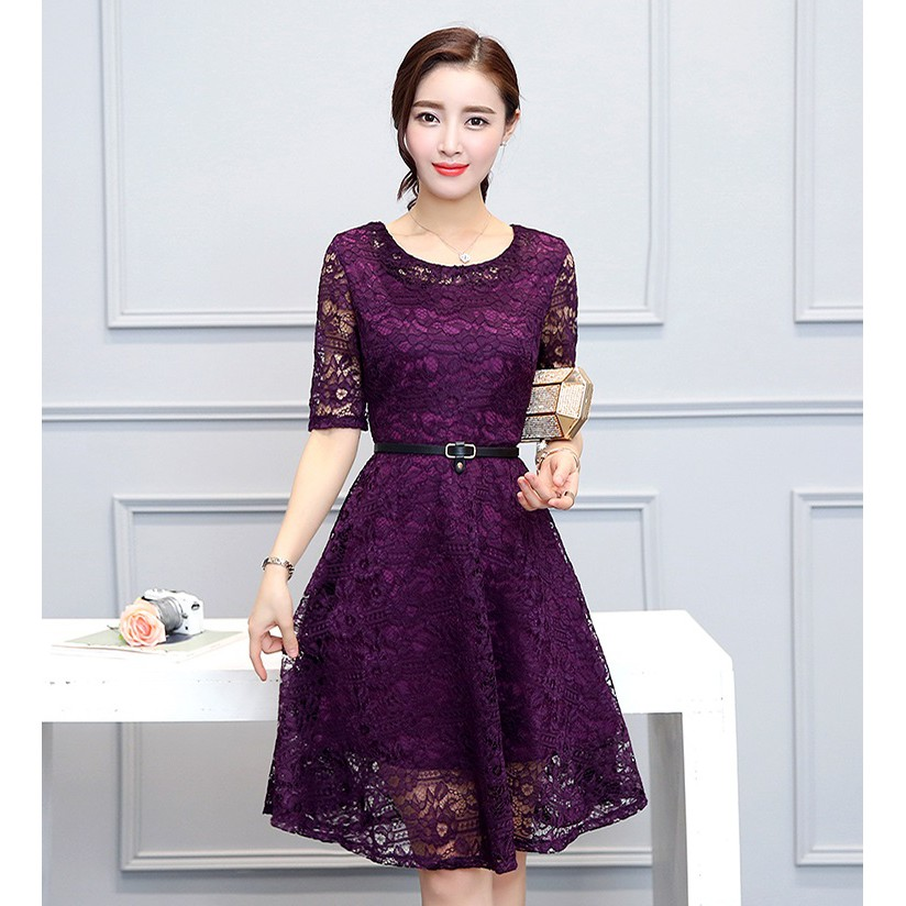 c4cb1a5dfc3 Korean Graceful Long-sleeved V-Neck Maroon Lace Midi Dress 3013-29 ...